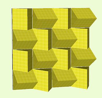 Esempio parete fonoassorbente realizzata con pannelli piramidali